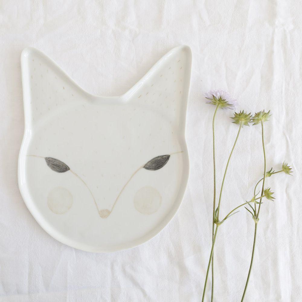 "Lovely handmade plate made of porcelain ""maman renard"""