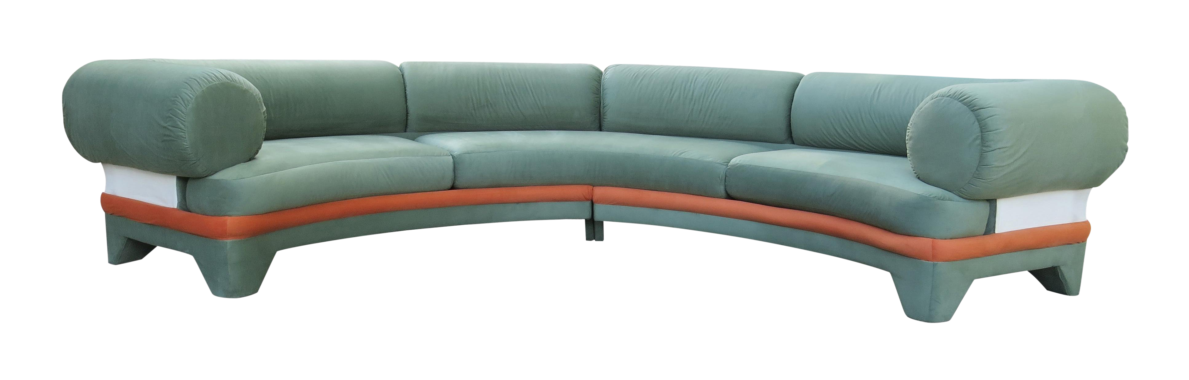 1970s Contemporary Circular Curved Ultrasuede Sectional Sofa In 2020 Sectional Sofa Sectional Curved Sectional