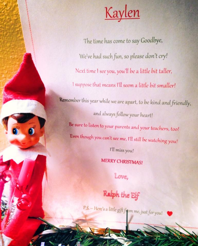 Our Goodbye letter from our Elf on a Shelf Such a cute way to say