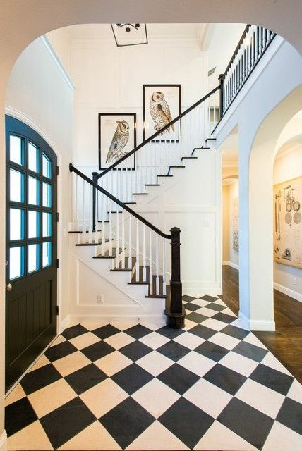 Wonderful Black and White Tile Entry Traditional with Dark Wood Stair Treads Owl…
