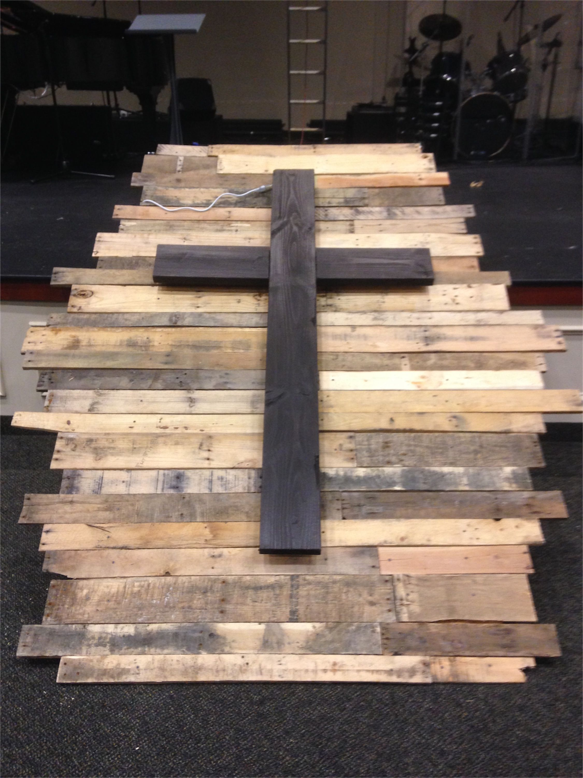 Pallet Wood Cross Smaller Church Stage Design Ideas