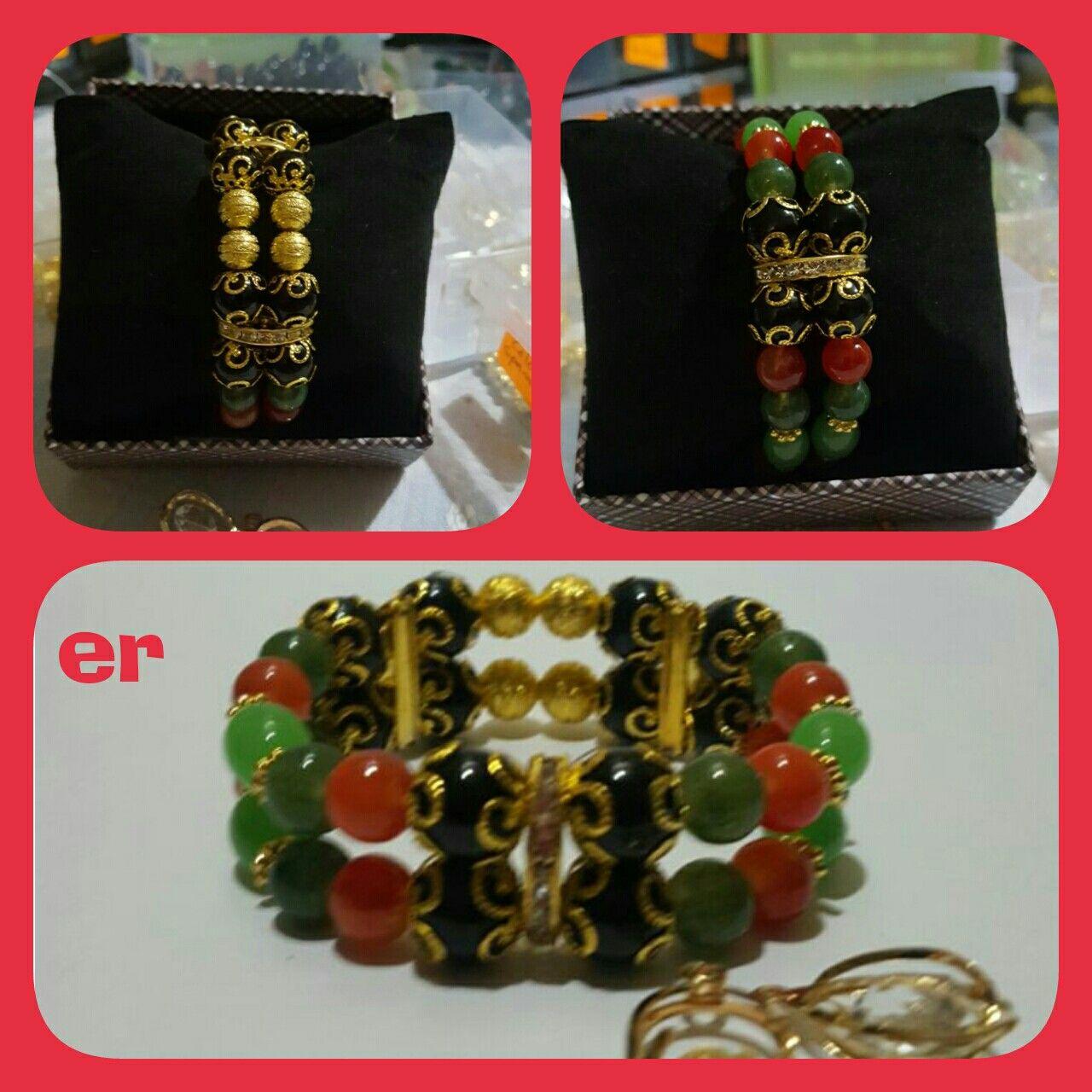 Double strand germstone n jade handmade bracelet...