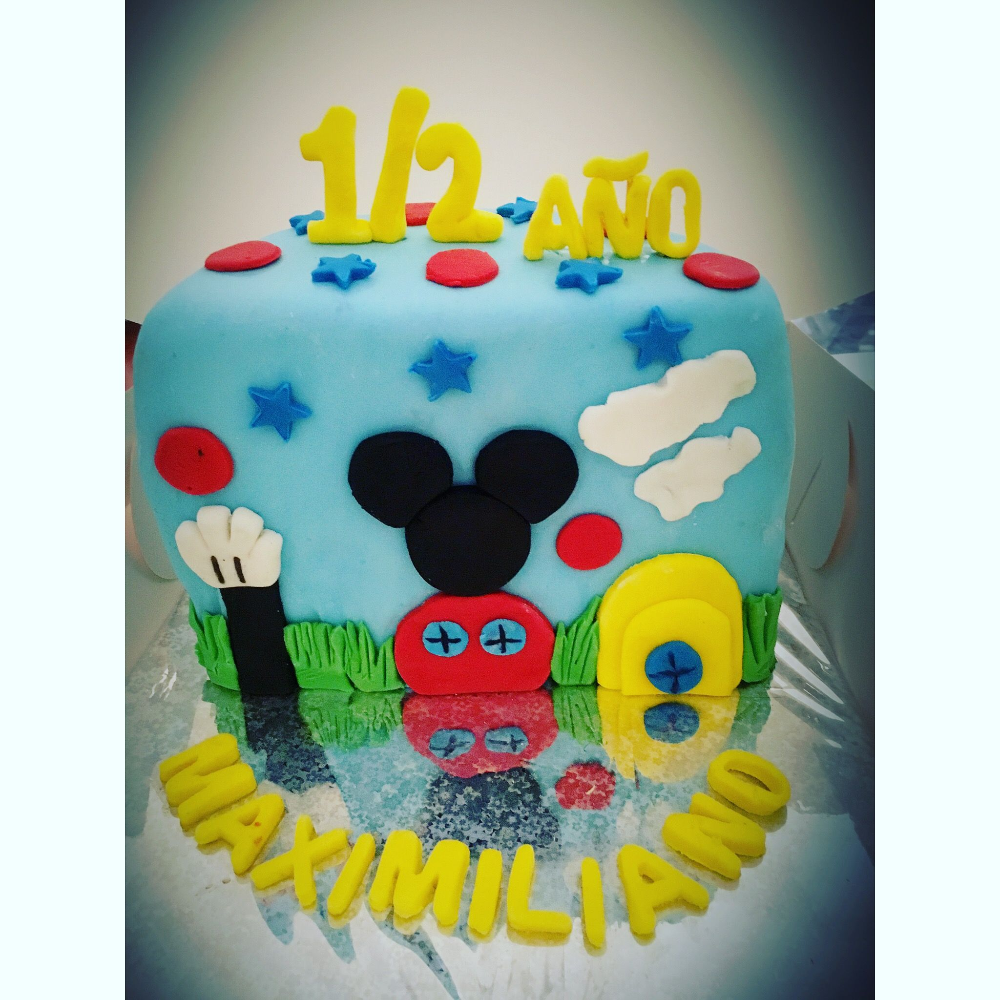 Cake Mickey Medio Ano With Images Half Birthday Cakes Half