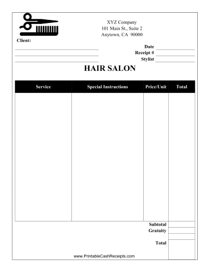This Salon Receipt Is Designed To Be Used By A Beauty Salon Or Spa. Free  Print A Receipt Free