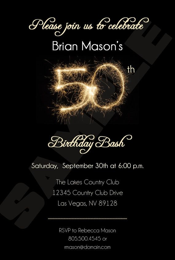 50th Birthday Party Invitation Black with by BrooklynDesignStudio ...