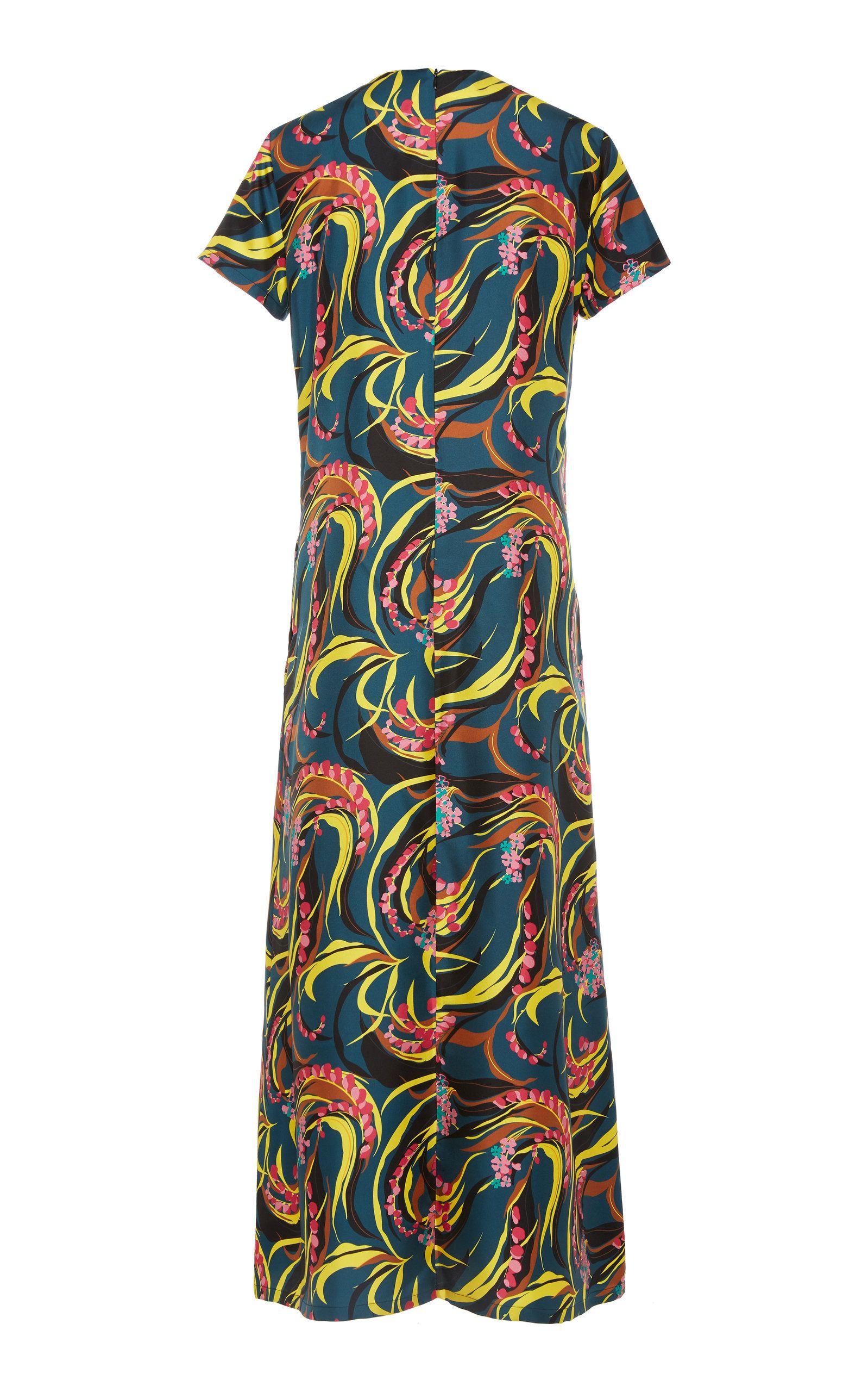 La Doublej Swing Printed Silk Twill Maxi Dress Size M Dresses Silk Short Sleeve Dresses