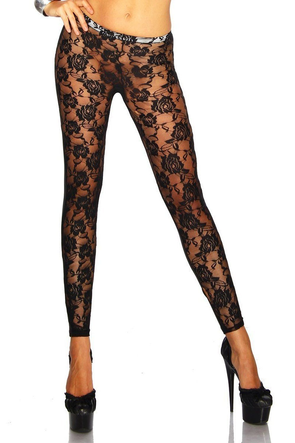 d83b09a753bc4 Dawdyfu Sexy Black Floral Rose Lace See Through Leggings Pants Tights (3)  at Amazon Women's Clothing store: