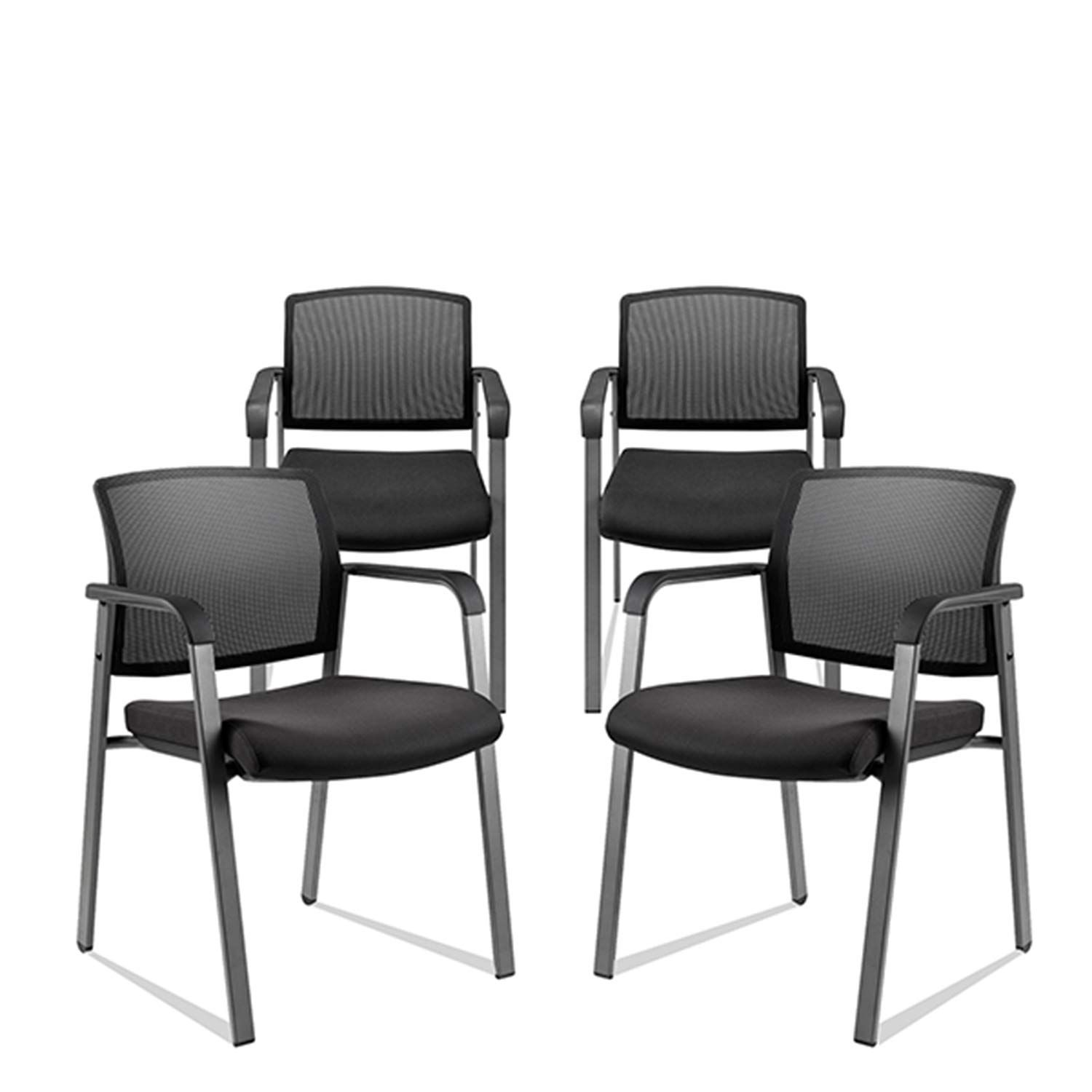 Mesh Back Stacking Arm Chairs With Upholstered Fabric Seat And