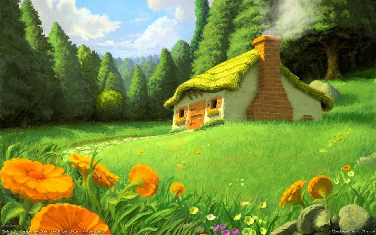 fantasy cottage illustration wallpaper fantasy