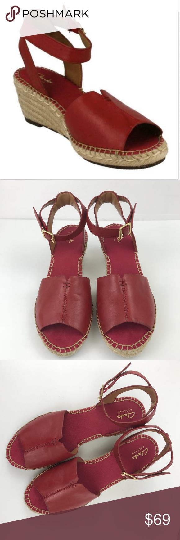 f1ee7f8bff8 Clarks Sandals Petrina Selma Wedge Espadrille Clarks Women s Sandals Petrina  Selma Red Leather Wedge Espadrille Ankle