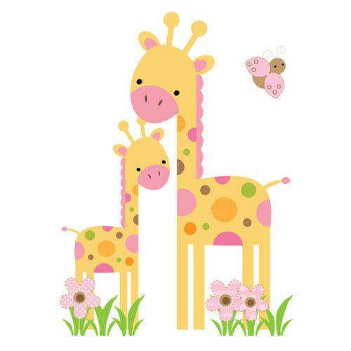 Mod Giraffe Wall Mural Decals Baby Girl Nursery Kids Room Jungle ...