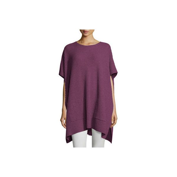 Eileen Fisher Cashmere Ribbed Easy Poncho Sweater ($458) ❤ liked ...