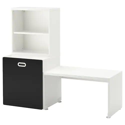 Stuva Fritids Table Avec Rangement Jouet Blanc Surface Tableau Noir 150x50x128 Cm Ikea En 2020 Rangement Jouet Rangement Ikea