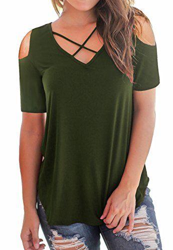 6655cb5ff Summer Women Clothes Under 10 Dollars PARPERNA Women's Short Sleeve Cold  Shoulder T-Shirts Tops Casual Criss Cross Tunic Tee Shirts …