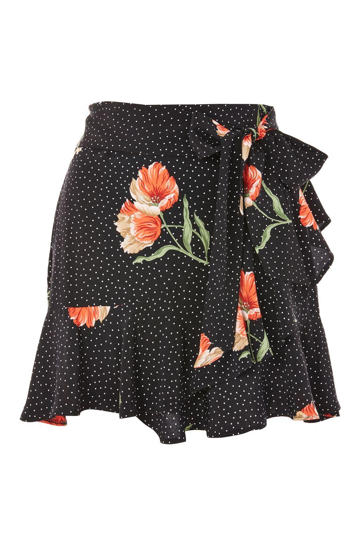 ab58cc5a14 Spot Flower Ruffle Mini Skirt | Topshop Black Ruffle Skirt, Floral Mini  Skirt, Frilly