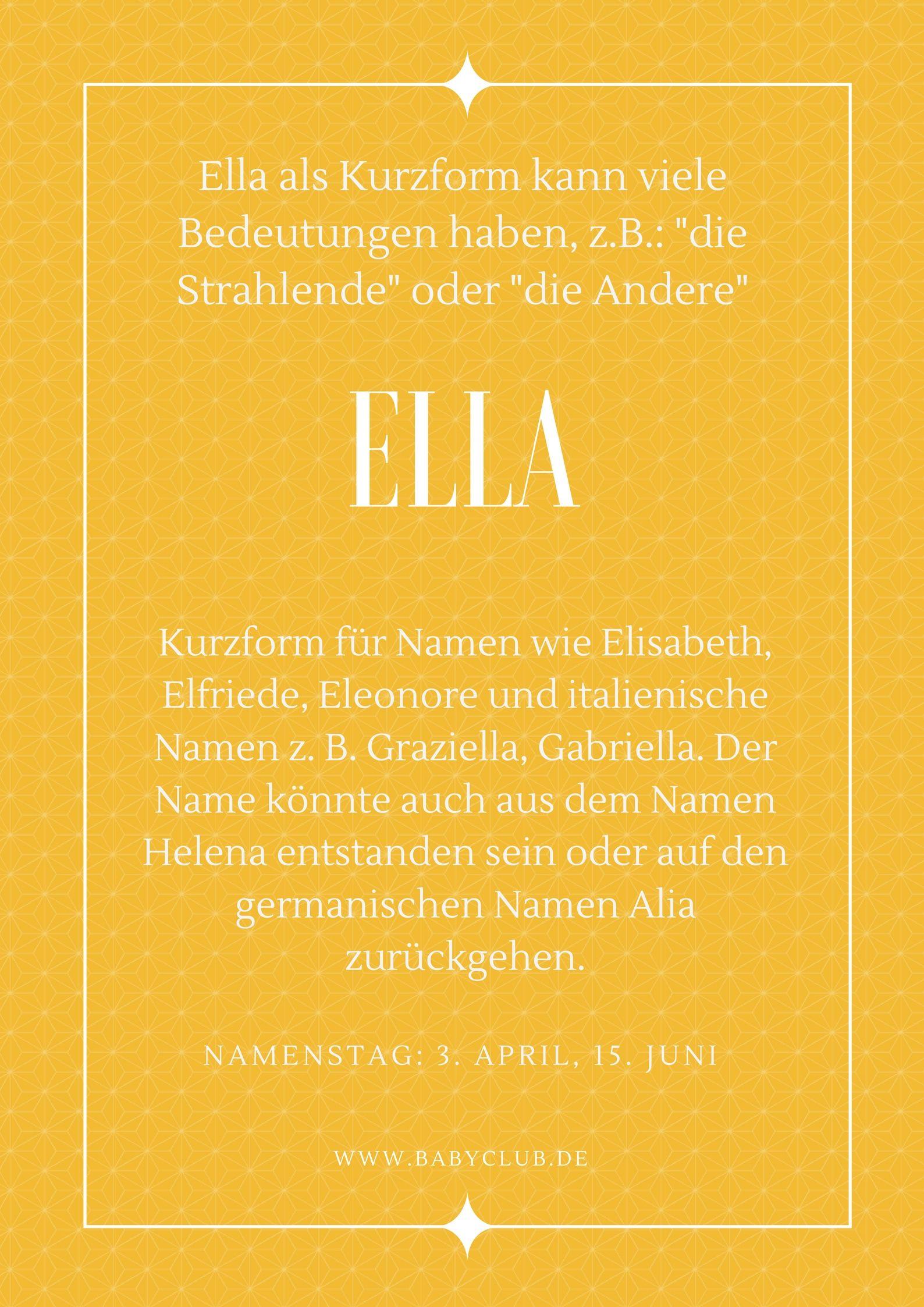 Vornamen Das Bedeutet Der Name Ella Www Babyclub De Vornamen Finden Vornamen Namenstag