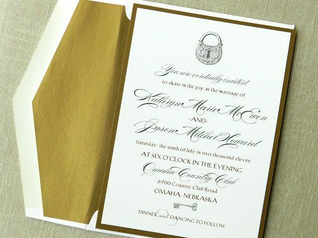Key Themed Wedding Invitations: Key Theme Wedding Invite