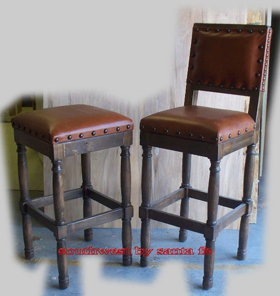 Wood And Leather Western Bar Stools Southwest By Santa Fe