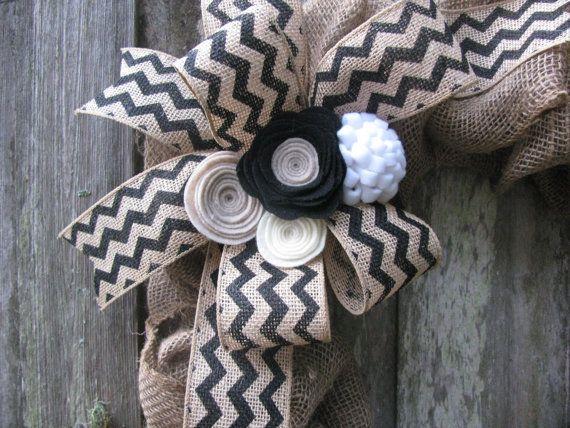 Burlap Wreath Decoration Black Chevron Ribbon by TheRuffledPage, $25.00