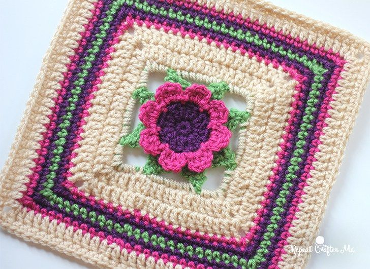 3D Crochet Flower Granny Square | Crocheting and Knitting ...