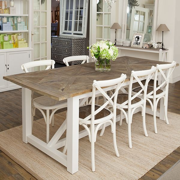 Versatile Kitchen Table And Chair Sets For Your Home: Elm Top Dining Table With White Timber Base.