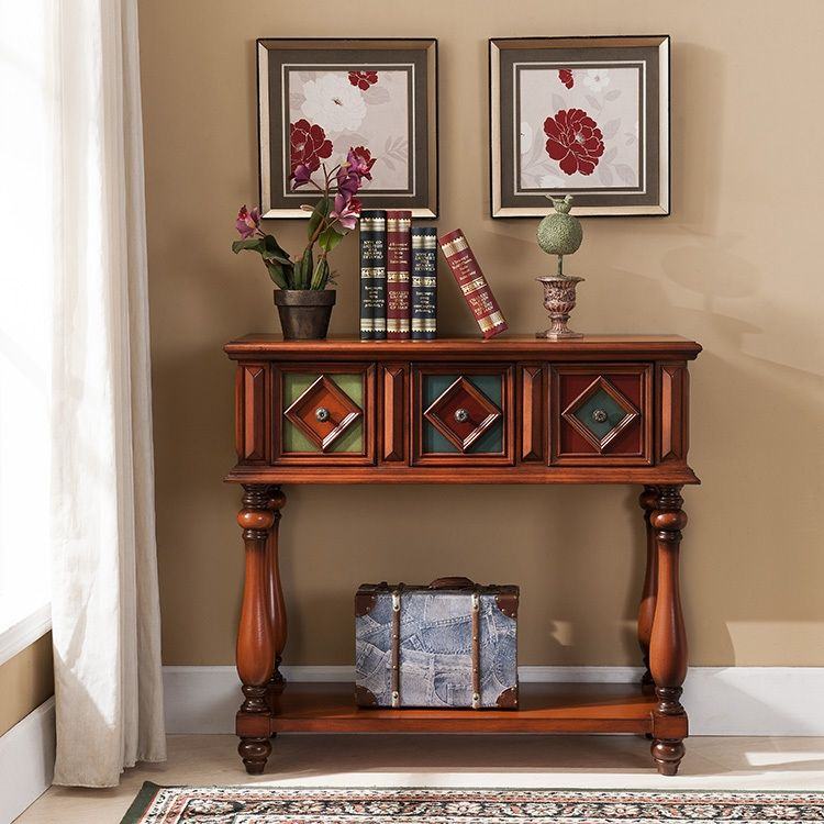 Vintage Rustic Console Table With Storage Entryway Table With Drawers Wood Console Table In Brown Rustic Console Tables Entryway Tables Console Table