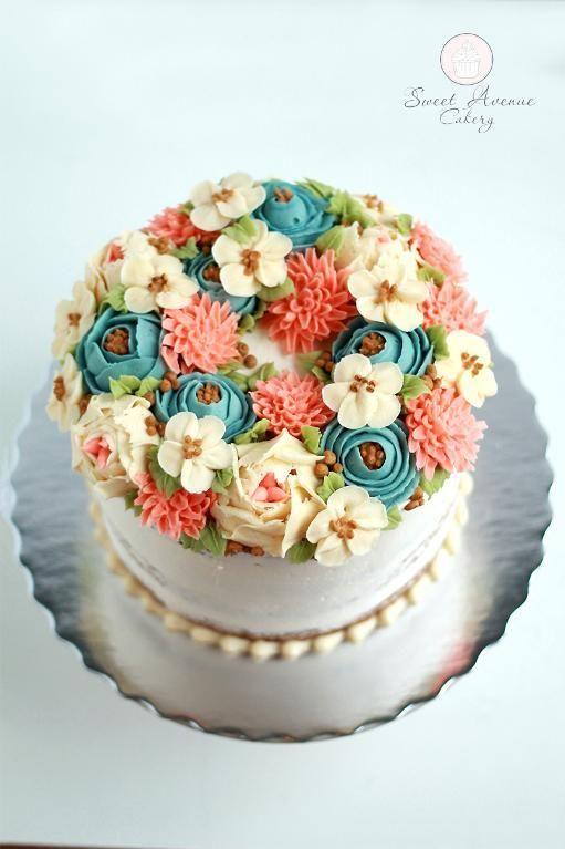 Gorgeous semi-naked buttercream flower cake by Craftsy member SweetAvenueCake