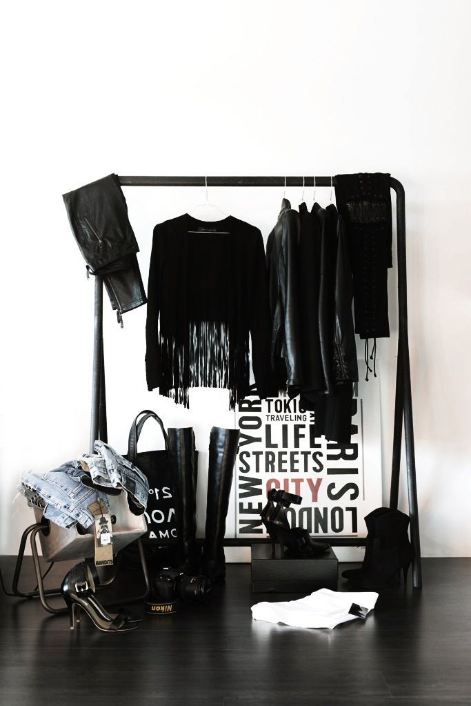 Mobile Closet With All Black Everythang.