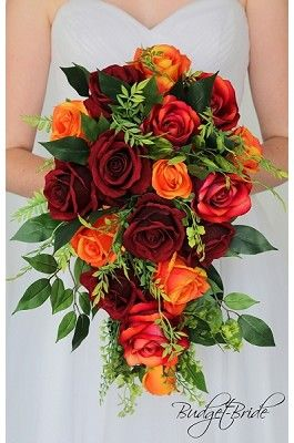 fall wedding flowers. Cascading bridal bouquet red roses, orange roses #fallbridalbouquets