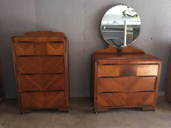 Vintage 1920 S Art Deco Waterfall Bedroom Set Four Drawer Tallboy And Three Drawer Dresser With Round Mi Art Deco Dresser Dresser Design Home Decor Inspiration