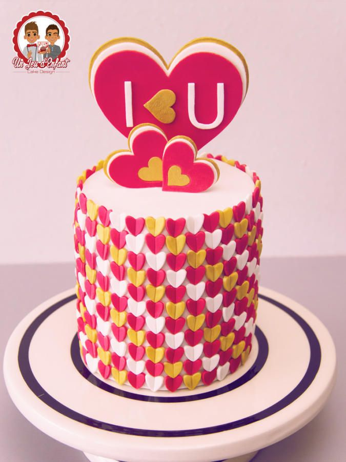 I 3 U Happy Anniversary Cakes Fondant Cake Designs Valentines Day Cakes