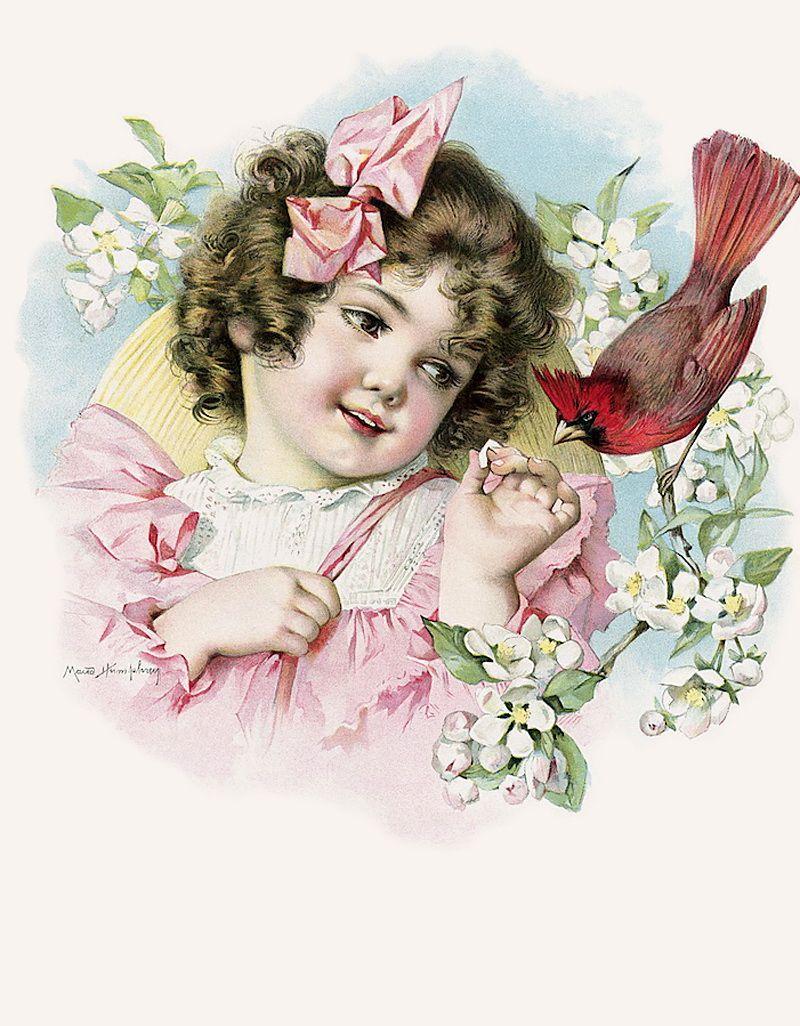 Девочка старая открытка, белом