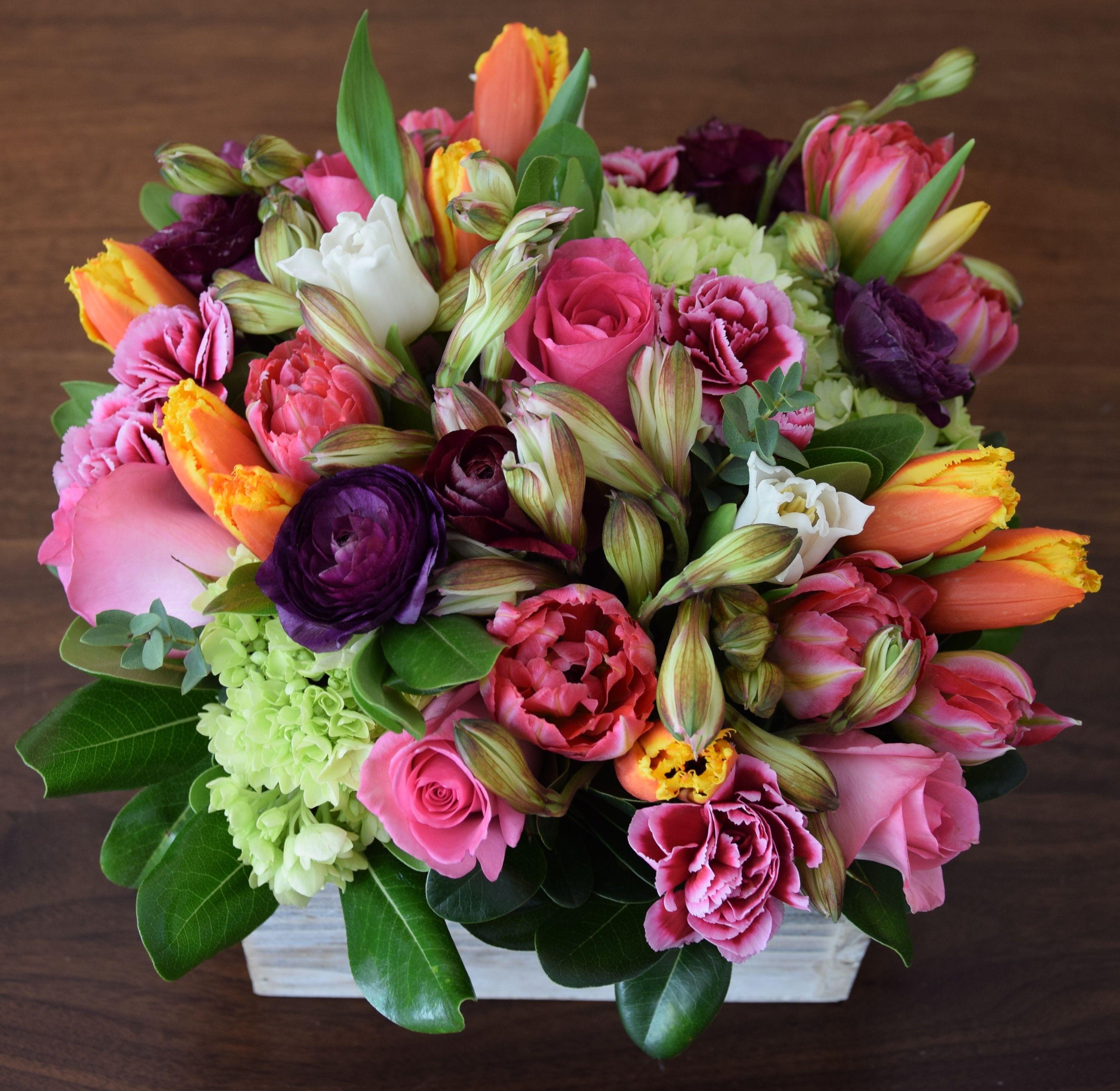 Flower Arrangement In A Wooden Box With Lots Of Florals Tulips Hydrangeas Ranunculus Ro Fresh Flowers Arrangements Flower Arrangements Spring Arrangements