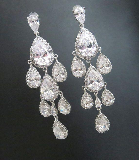 Long Drop Bridal Earrings Bridal Jewelry Silver Wedding Etsy Bridal Earrings Crystal Bridal Earrings Bridal Earrings Drop