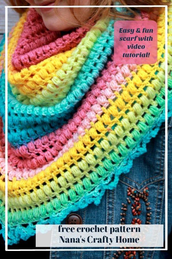 Spring Me Forward Triangle Scarf Free Crochet Pattern Fallfashion - Diy Crafts