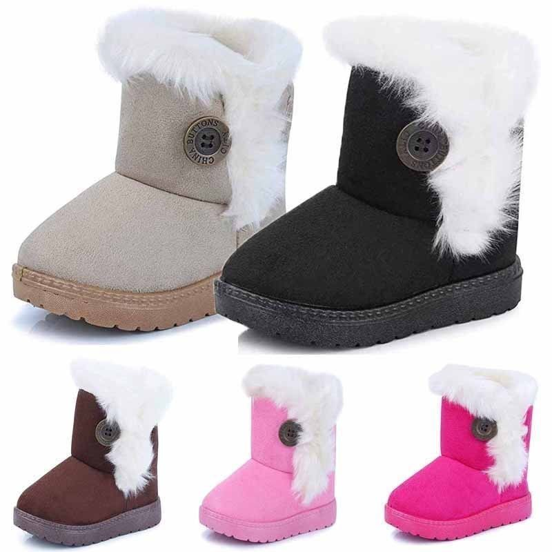 GREY BUNNY POM POM FAUX SUEDE FUR LINED ANKLE WINTER SNOW BOOTS SHOES KIDS GIRLS