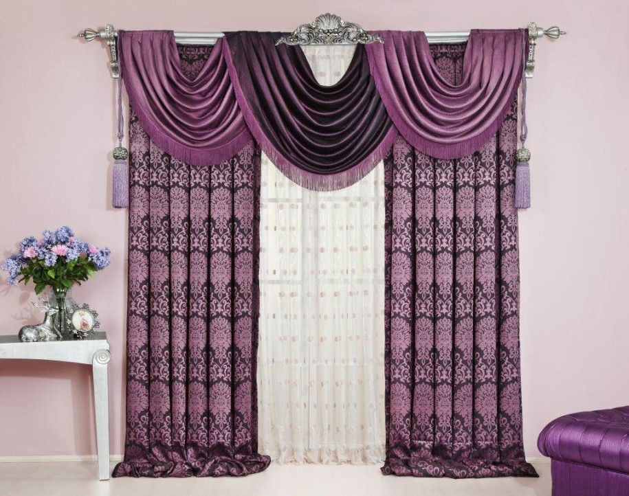 Living Room Curtains Swag Purple