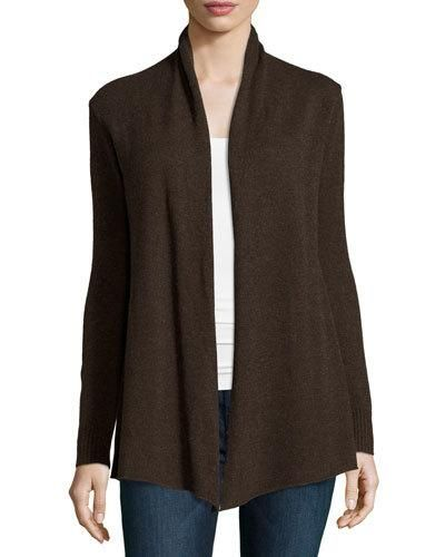 Cashmere Basic Open-Front Cardigan, Brown
