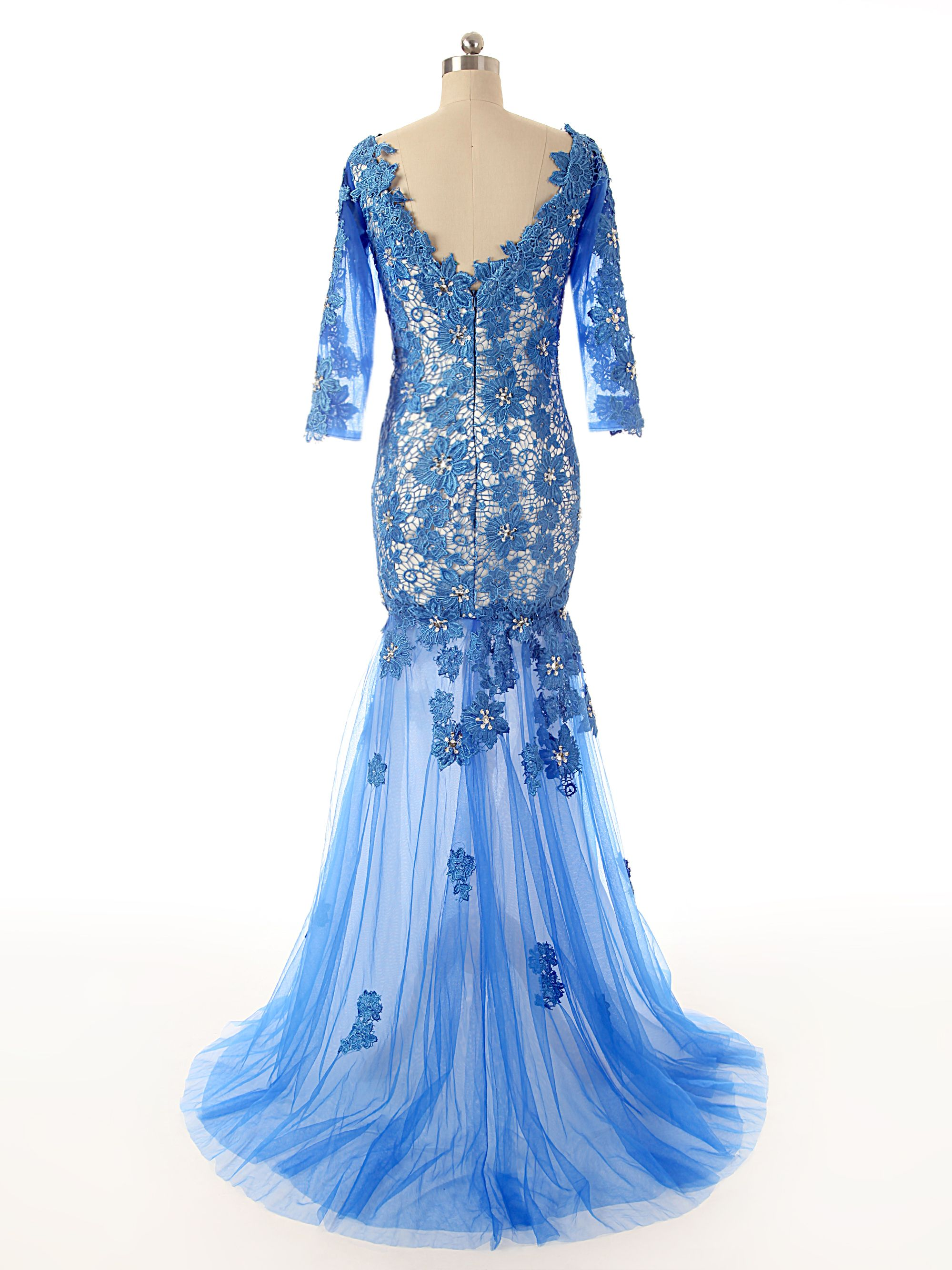 A half sleeve sexy seethrough mermaid evening gownslace