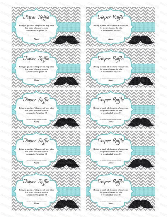 Moustache Baby Shower Diaper Raffle Ticket Diaper Wipe Raffle Card