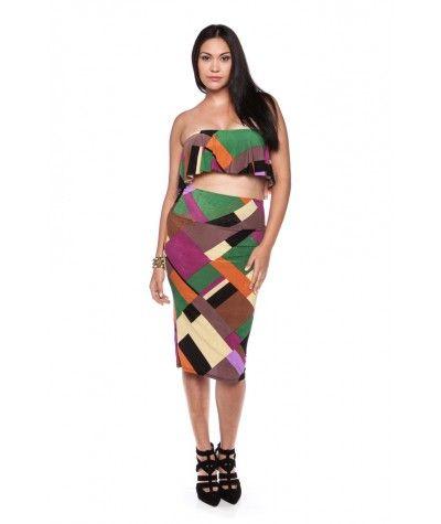 Two Piece Color Block Dress Set