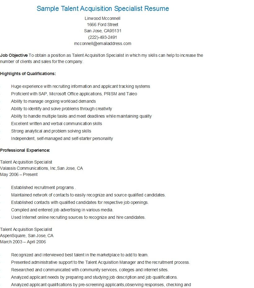 Sample Talent Acquisition Specialist Resume Talent Acquisition Resume Sample Resume