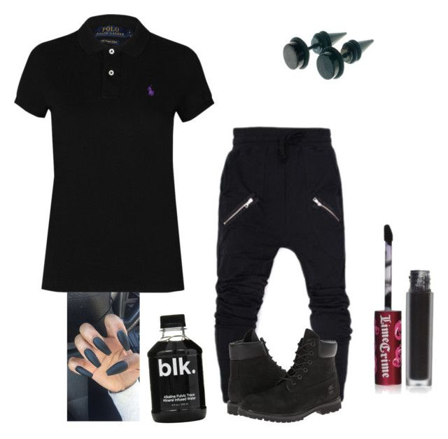 """""""~All Black~⚫️⚫️"""" by morganbanks ❤ liked on Polyvore featuring Polo Ralph Lauren, Lime Crime and Timberland"""
