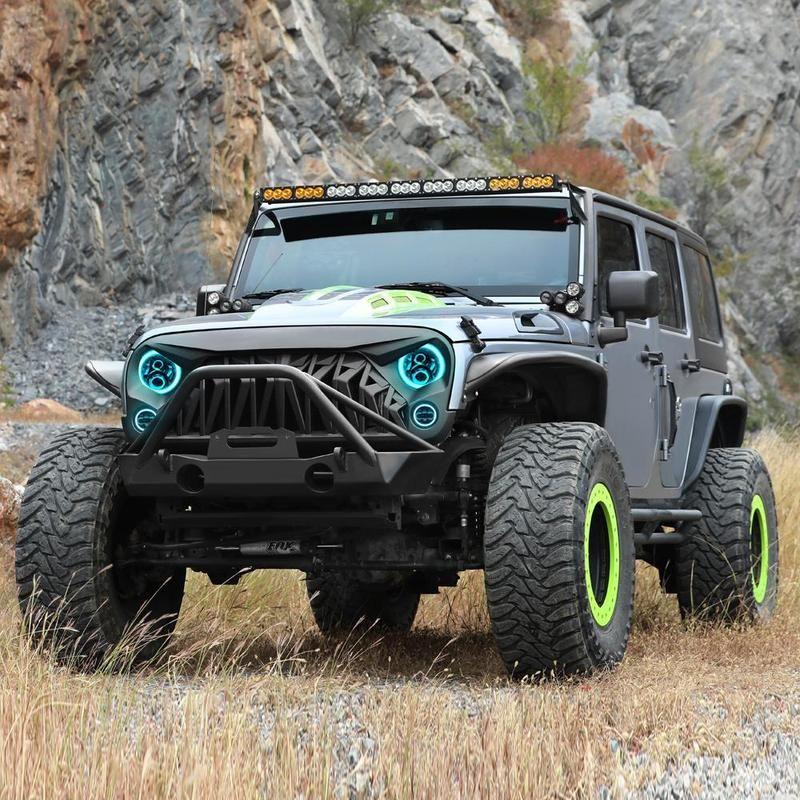 Jeep Wrangler Shark Grille Rgb Halo Headlights Rgb Halo Fog Lights Jeep Wrangler Jk Jeep Wrangler Wrangler Jk