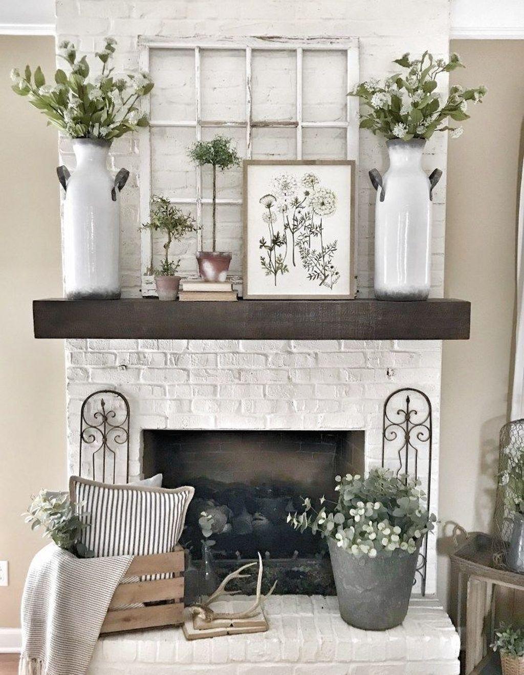 45 wonderful farmhouse style fireplace ideas home decor room rh pinterest com