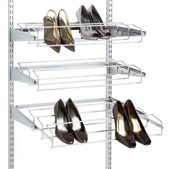Platinum Elfa Gliding Shoe Racks. Track ShelvingContainer StoreThe ...
