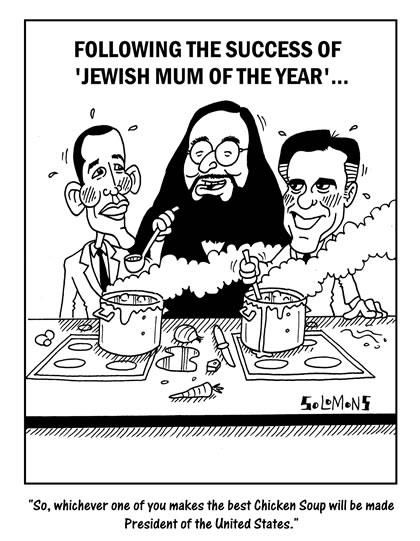 Cartoon for The Jewish News by Paul Solomons. Jewish Mum of the Year, Obama and Romney.