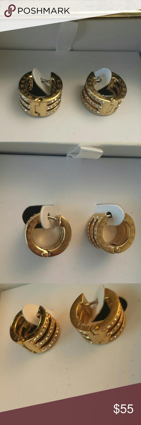 4f63f30f2d9479 Michael Kors NWT Crystal Pave GoldHuggie Earrings Michael Kors NWT Gold Tone  Crystal Pave Motif Bar Huggie Hoop Earrings, mkj3768710, Stainless steel,  ...