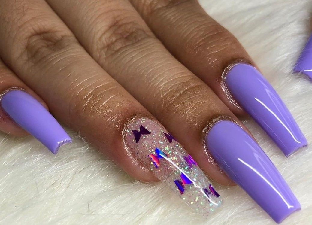 Purple Nails Butterfly Nails Summer Nails Acrylic Nails Acrylicnailsforsumm New Ideas In 2020 Purple Acrylic Nails Pink Acrylic Nails Purple Nails