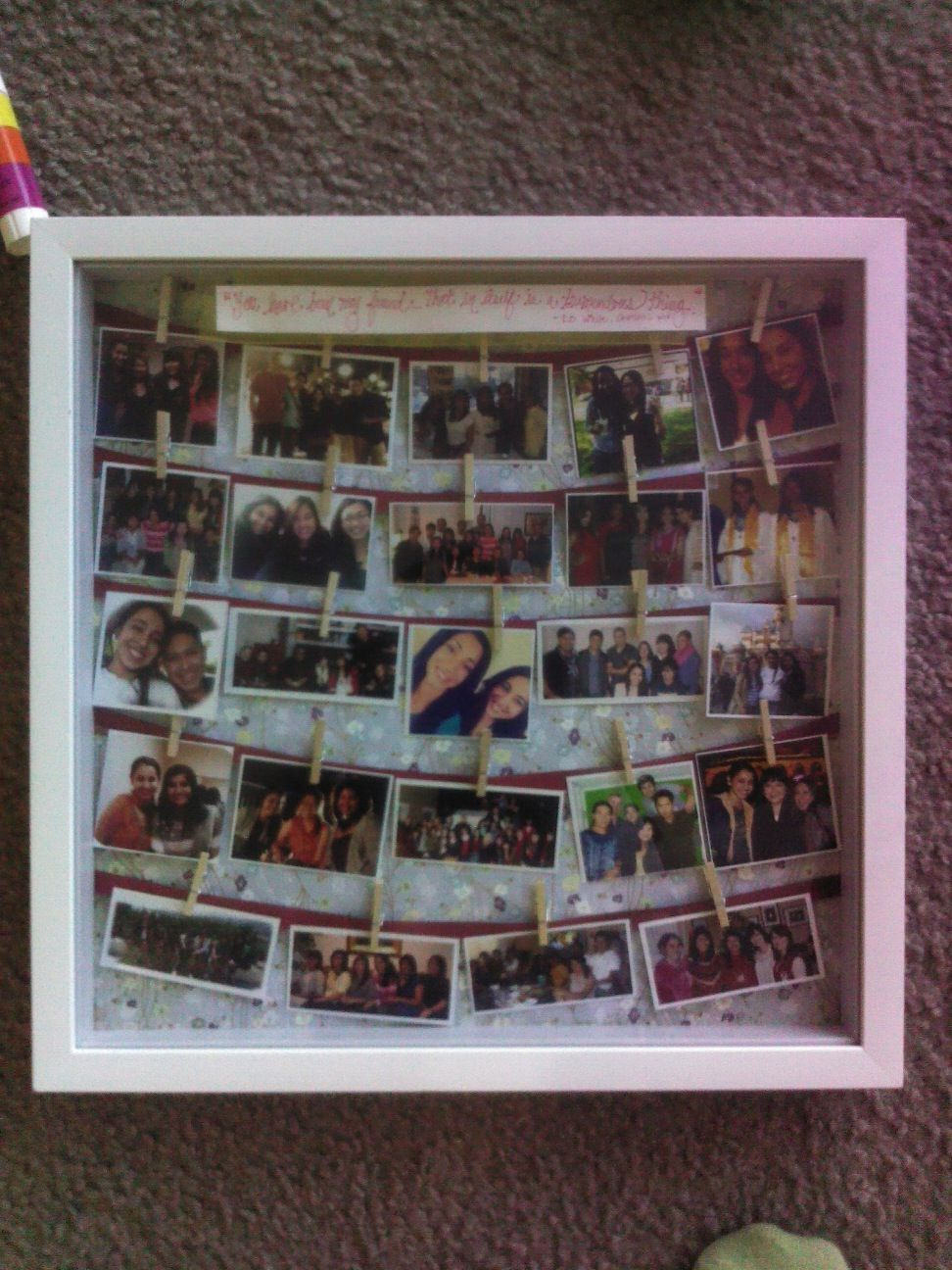 Made my best friend a shadow box as a present for her going off to ...